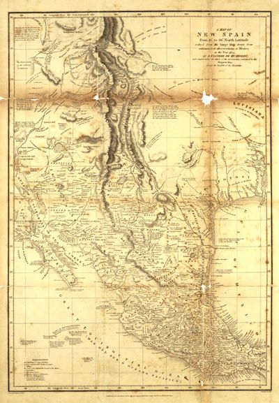 Mexico 1804, New Spain, United States, Antique Historical Vintage Map. Created London, Alexander von Humboldt 1769-1859. A map of New Spain, from 16 degrees to 38 degrees North latitude, drawn from astronomical observation at Mexico in the year 1804.