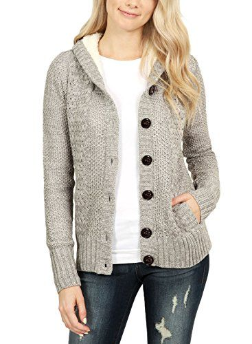 79bb611ff668b ROSKIKI Womens Cable Knit Open Front Sweaters Button Down Hooded Cardigan  Coats with Pockets | Fashion | Sweater coats, Sweaters, Hooded sweater
