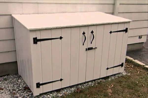 learn how to construct an outside garbage enclosure that is attractive and animal resistant. Black Bedroom Furniture Sets. Home Design Ideas