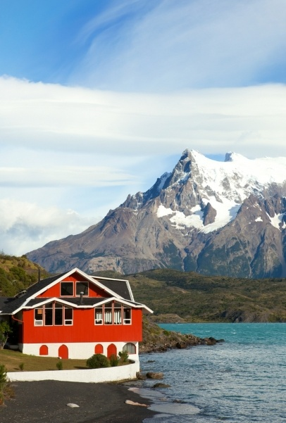 Hotel Pehoe on the shore of Pehoe lake in Tprres del Paine national park, Chile, South America