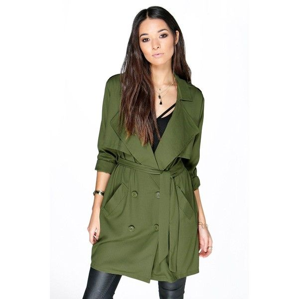 Boohoo Eva Berry Waterfall Trench ($44) ❤ liked on Polyvore featuring outerwear, coats, olive, olive green trench coat, wrap coat, green rain coat, puffer coat and waterfall trench coat
