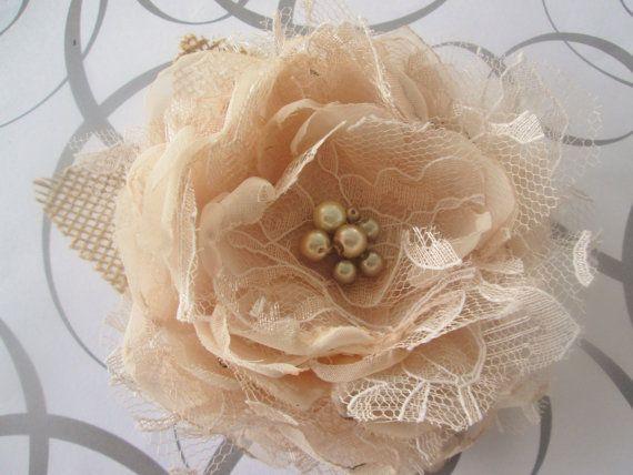 Wedding hair clip champagne blush bridal hair clip chiffon lace and burlap fabric flower facinator