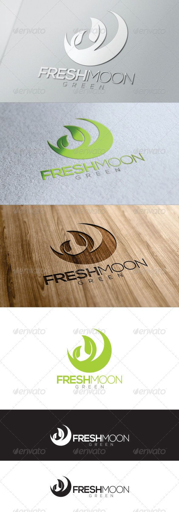 Green Fresh Moon Logo - Nature Logo Templates