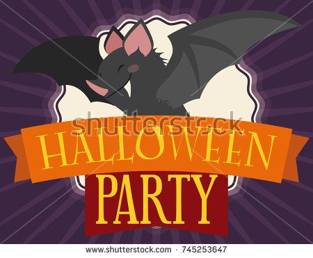 Invitation card in flat style with mischievous smiling bat over greeting ribbons inviting you to the Halloween party.