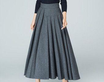Long Gray Skirt Tea Length Skirt Warm Winter Skirt by xiaolizi