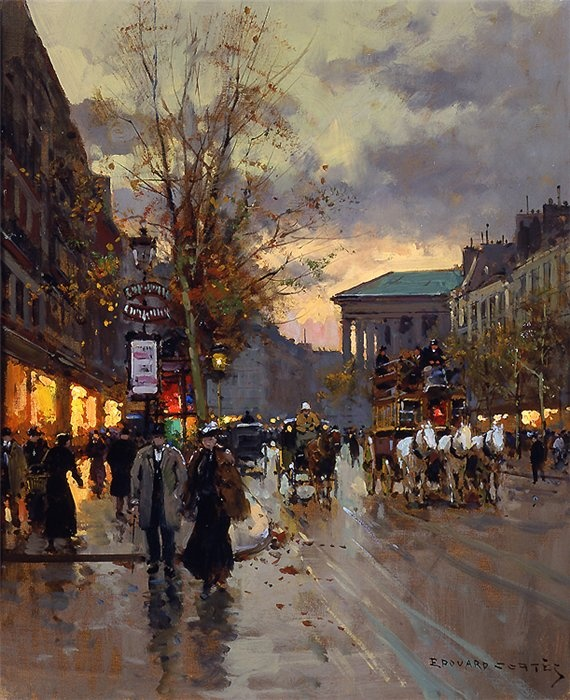 "Boulevard de la Madeleine, Edouard Leon Cortes. Born April 26 1882. Known as the ""Parisian Poet Of Painting"".  His father Antonio Cortes had been a painter for the Spanish Royal Court."