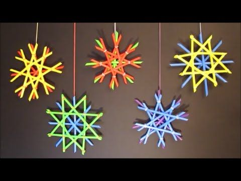 Easy to make snowflakes with drinking straws. Looks beautiful hanging on a wall, in a Christmas tree, on a door or in a window. They are fun for kids and adu...