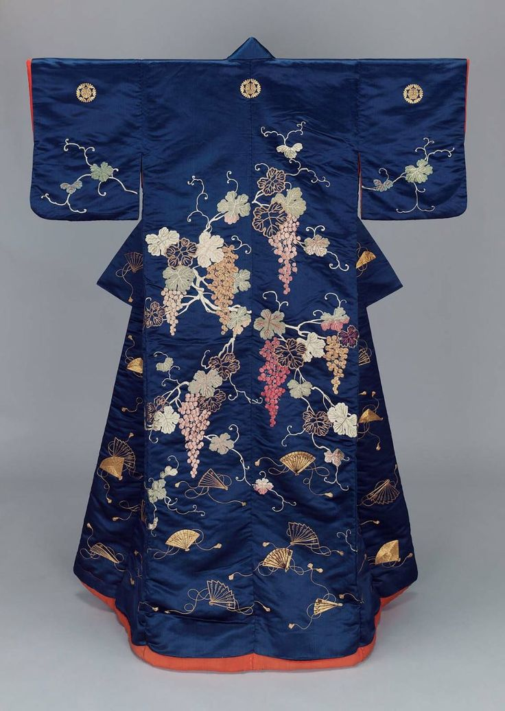 UCHIKAKE Japanese, Late Edo or early Meiji period, mid-19th century DIMENSIONS: 160.7 x 119.4 cm (63 1/4 x 47 in.) MEDIUM OR TECHNIQUE: Silk satin embroidered with silk and gold-metallic thread