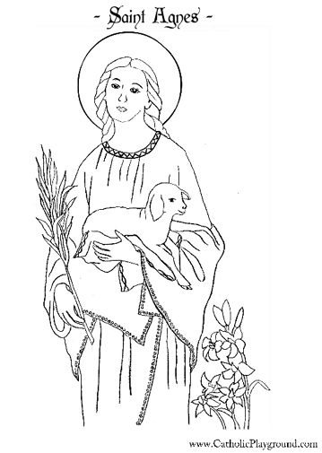 Saint Agnes Catholic coloring page 2. Feast day is Jan