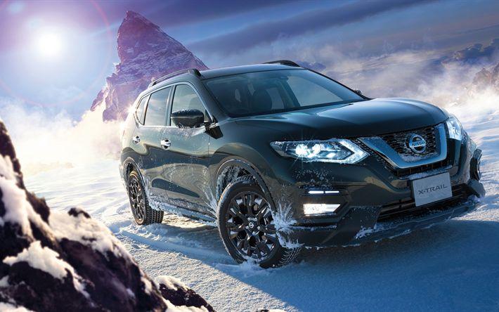 Descargar fondos de pantalla Nissan X-Trail, 2017, 4k, SUV, negro X-Trail, el invierno, las montañas, la nieve, los coches Japoneses, Nissan