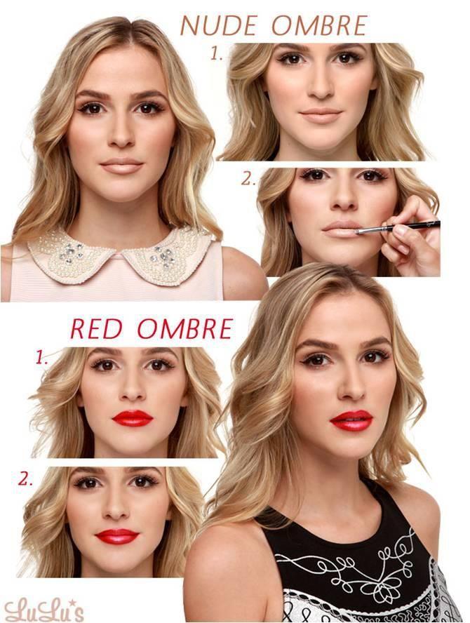 1. Aplicar a los labios una barra de labios nude oscuro. 2. Con un cepillo, aplicar el tono más claro en el centro de los labios. Rojo 1. Aplicar una barra de labios de color rojo intenso. 2. Con un cepillo, aplicar un color más claro en el centro.