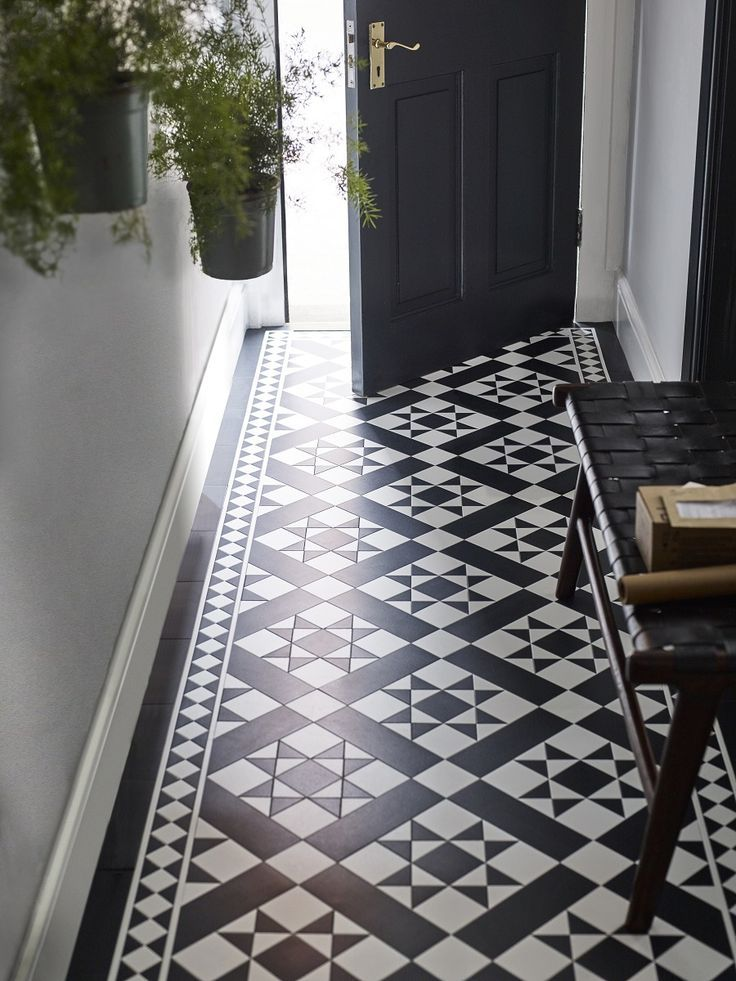 Fake It With Patterned Vinyl Floor Tiles Hallway