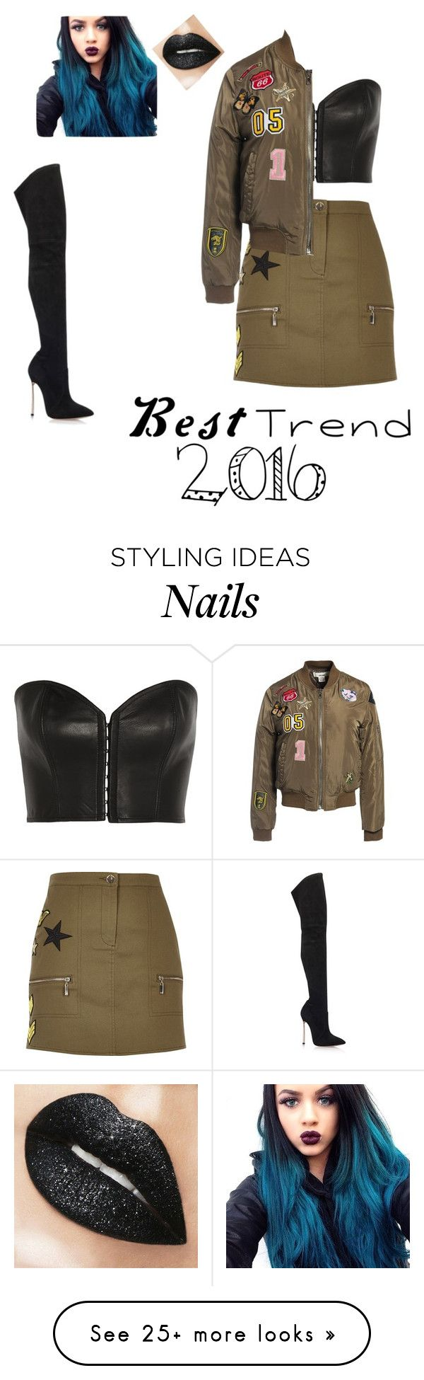 """""""Military style"""" by lilangelrere on Polyvore featuring River Island, Casadei, Kiki de Montparnasse and Sans Souci"""