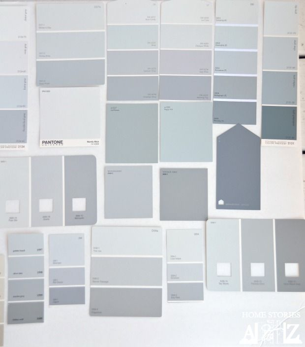 blue graysThe last category of my grays are the blue grays. These read more blue than green or violet when compared with one another. Some of my favorite blue grays are Eddie Bauer Woodsmoke, Olympic Lunar Eclipse, and Benjamin Moore Misty Gray.