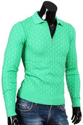 Купить Зеленая мужская рубашка поло с длинным рукавом недорого в Москве