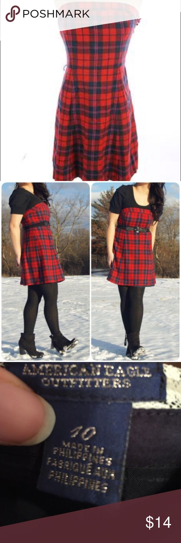 American Eagle plaid strapless dress American Eagle wool plaid strapless dress with tie waist and silky lining. Red and navy plaid with hints of pink. Hits above the knee. Perfect for the holidays. Worn a few times. Size 10. American Eagle Outfitters Dresses Strapless
