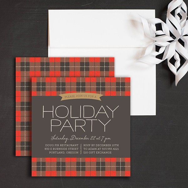 Plaid Christmas Holiday Party Invitations by Elli