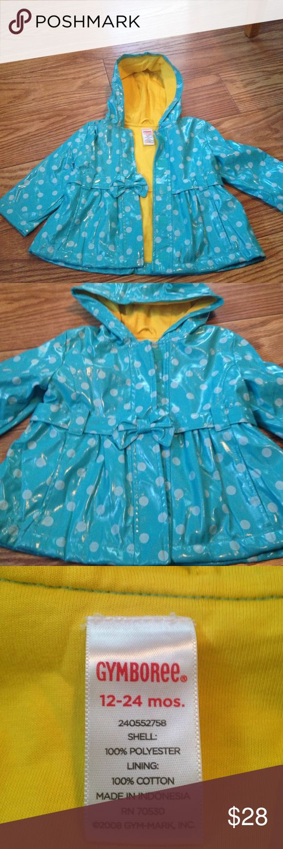 Gymboree Polka Dot Hooded Raincoat size 12-24 mths Super cute and never worn! Turquoise blue raincoat with velcro closures and hood. Bright yellow interior. No signs of use or wear! From Gymboree size 12-24 months. Gymboree Jackets & Coats Raincoats