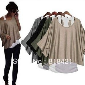 Fashion Womens Clothing Batwing Short Sleeve  2 in 1 Style Casual Loose Batwing Top Blouse T shirt Vest Tank top Plus size S XXL-inT-Shirts from Apparel  Accessories on Aliexpress.com $10.88 - 12.88