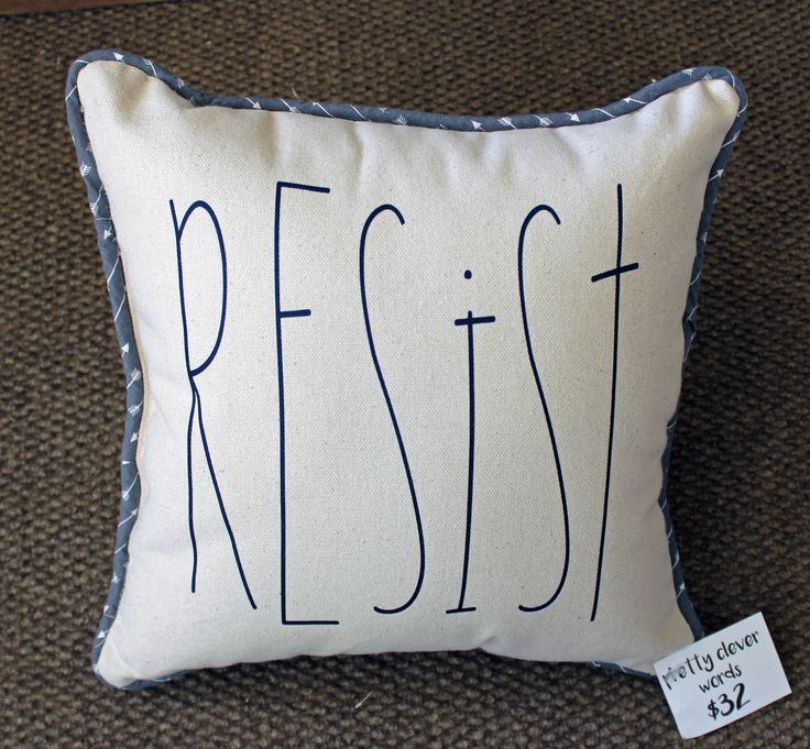 resist - canvas word art pillow