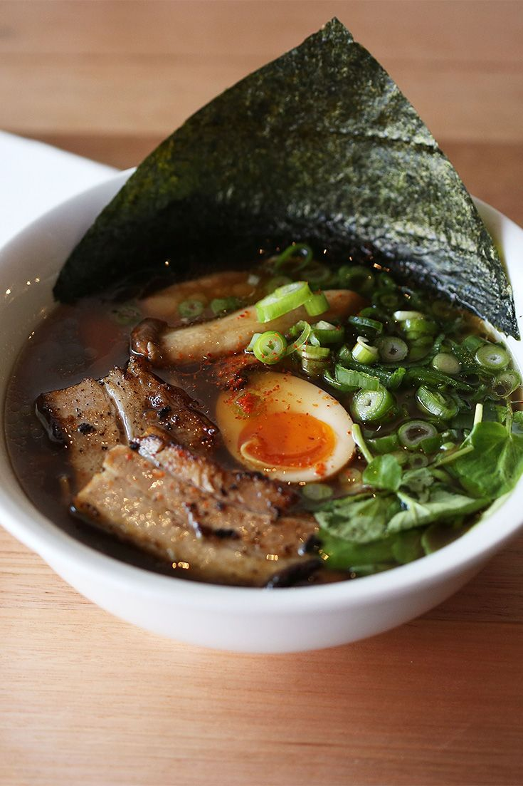 There are ten types of ramen to choose from – half with chicken soup, the other half with a rich pork tonkotsu broth, brimming with collagen that is said to be good for the skin.
