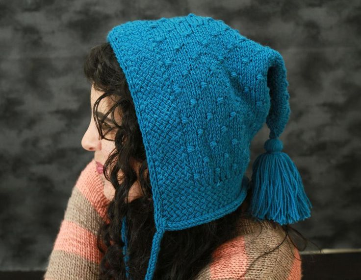 Soda Shoppe Hoodlet - This unusual hat is a delight to knit and wear, due to unique top-down, seamless construction and interesting textural stitches. Pattern calls for fingering weight held doubled, but DK may be used as a substitute.