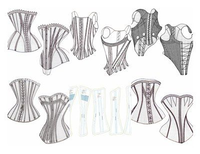 PATTERN! Six free corset patterns including 18th century. Click the image for the downloadable zip file.