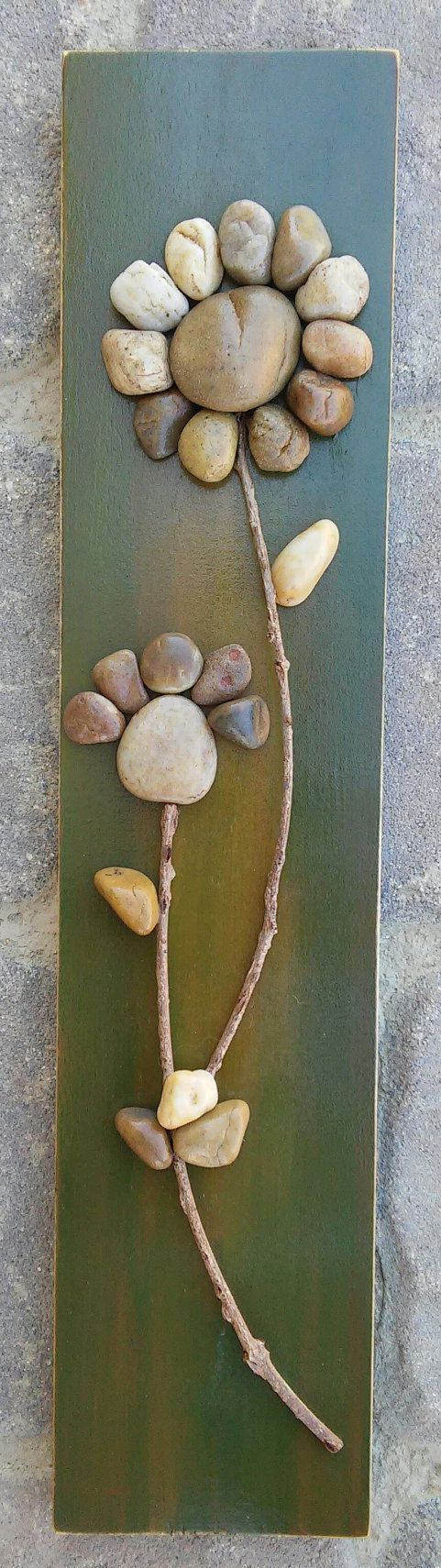 Pebble Art Flower on reclaimed wood, approx. 15.5x3.5 (FREE SHIPPING)
