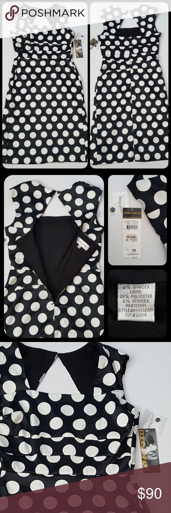 """Polka Dot Silky Material Dress New With Tags Bought this dress for a special occasion. Ended up getting another one. * New with tags still attached*  - Beautiful and flirty style - Feels like silk ~ So soft! - Black and White Polka Dots - Zippers on back to the lower waist - Lined  - 42"""" Long Donna Ricco Dresses"""