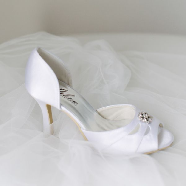 Crystal Peeptoe Wedding Shoes by Pearl & Ivory ®  - Find more elegant wedding shoes from our collection www.pearlandivory.com/bridal-shoes.html. Photography by Yolande Marx #PearlandIvory #Crystal #WeddingShoes #Peeptoe #BridalShoes