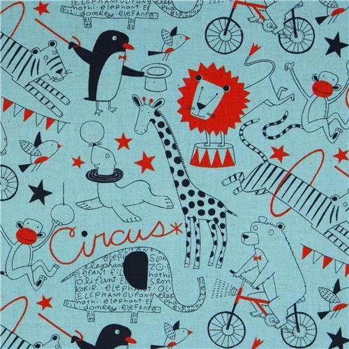 blue circus animals canvas fabric by Nancy Wolff Kokka: Nancy Wolff, Blue Circus, Wolff Kokka, Canvas Fabrics, Animal Canvas, Kawaii Products, Circus Fabrics, Circus Animal, Upholstery Fabrics