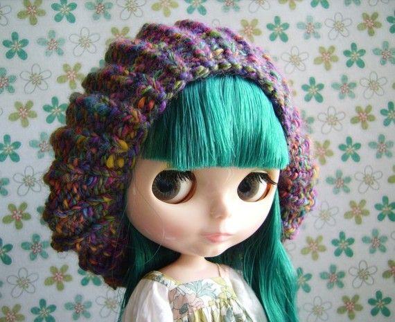 Fluffy Jellyfish Rainbow Hat for Blythe