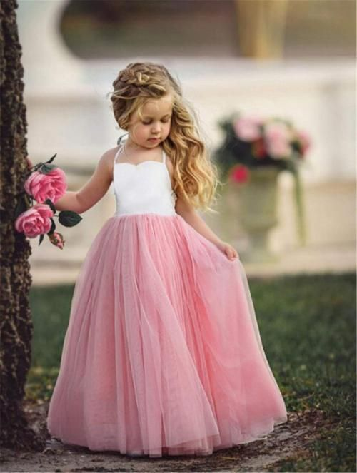 61cff9ab1bac Heyuni. Girl Dress Girl Pink Sleeveless Wedding Party Gown Girl ...