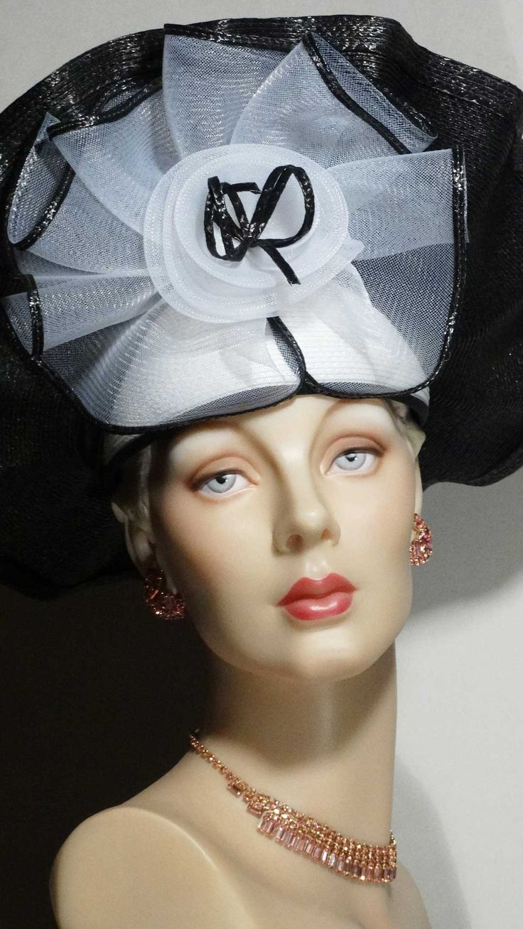 1980s black and white fascinator by Sylvia