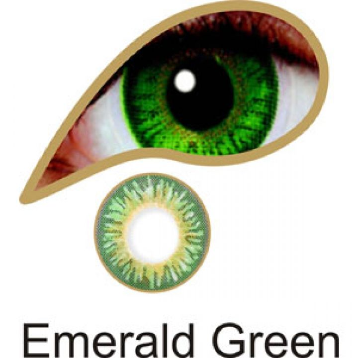 Emerald Green Colored Contact Lenses (Comfort) - These coloured contact lenses are designed to give a strong colour change with three colours blended together creating amazingly beautiful looking eyes.   #eye #color #contacts Emerald Green Colored Contacts