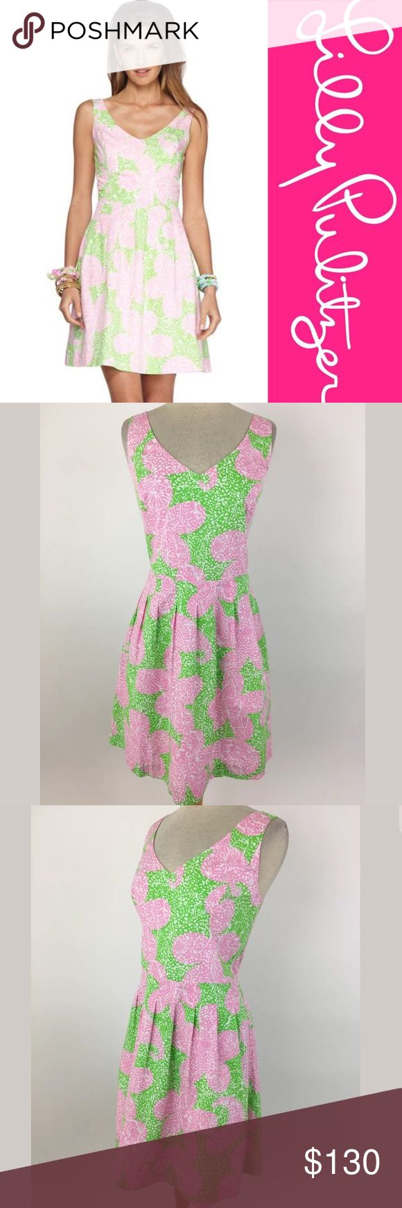 """Lilly Pulitzer Lexington Dress Waist: 33.5"""" Bust: 40"""" Shoulder to hem: 38.75"""" 100% cotton, lined in 100% cotton. The color is brighter than the stock photo.  Item #148 Lilly Pulitzer Dresses"""