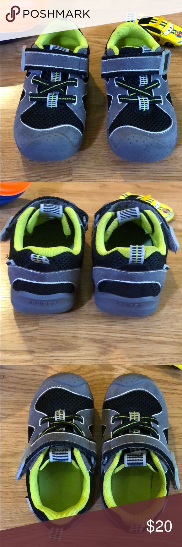 Like new Pediped washable 7.5-8 (24) runners These are an excellent condition pair of Pediped washable Velcro runners! Soles show barely any wear, everything is in excellent condition. Worn only about 5 times. Size 24, which fits a 7.5-8. Retails for $40 new. Smoke and pet free home. Color is grey, black and green. pediped Shoes Sneakers