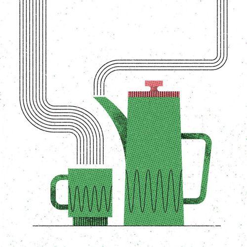 Fresh brew #illustration #vector #design #texture #designspiration #bestvector #MUTI #coffee #retro #vintage #midcentury
