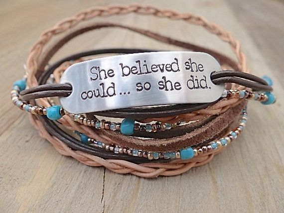 She Believed Could So Did Hand Stamped Brown Leather Wrap Bracelet Inspirational Quote Jewelry Multi Strand Boho Turquoi