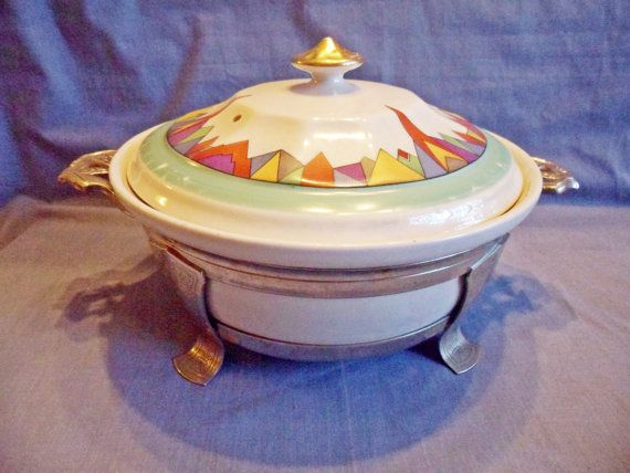 Art Deco Vintage Forman Bros. Hall China Covered Casserole with Chrome Caddy