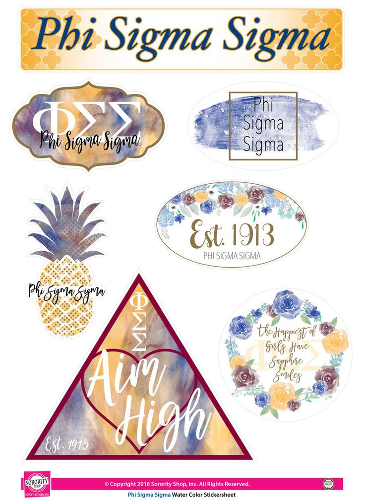 Phi Sigma Sigma Sorority Stickers- Water Color - Brothers and Sisters' Greek Store