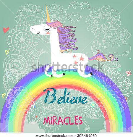 cute unicorn with rainbow