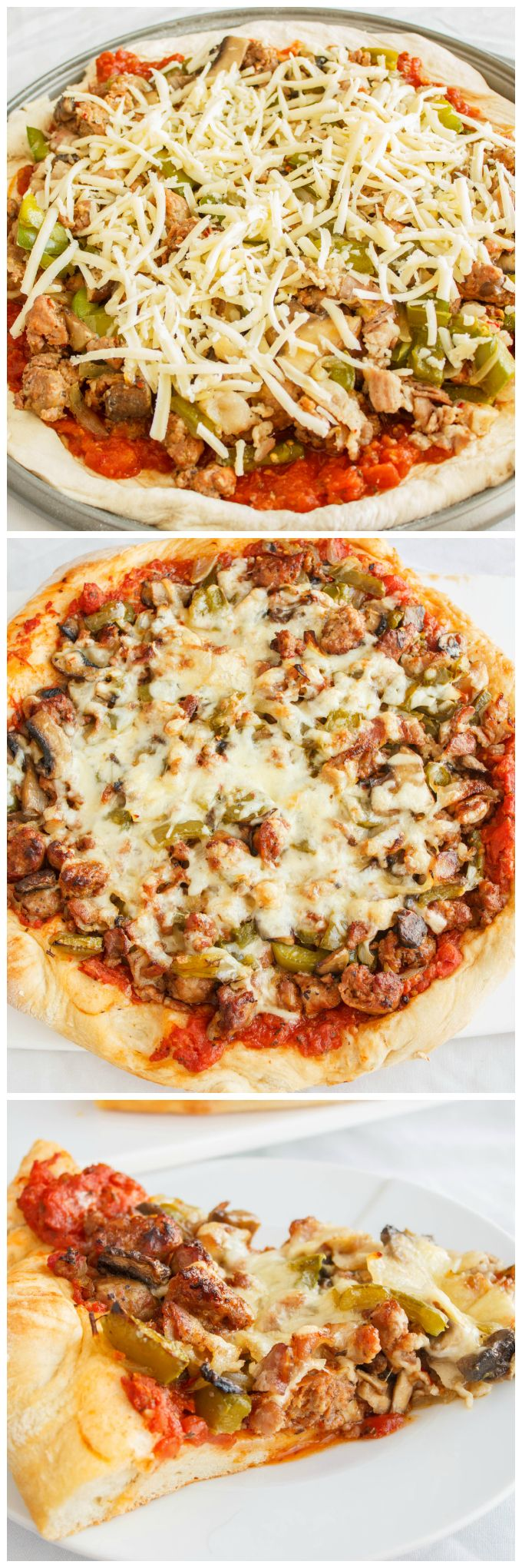 Sausage Pizza with Onions, Green Peppers, and Bacon | #foodie #pizza #bacon | http://thecookiewriter.com
