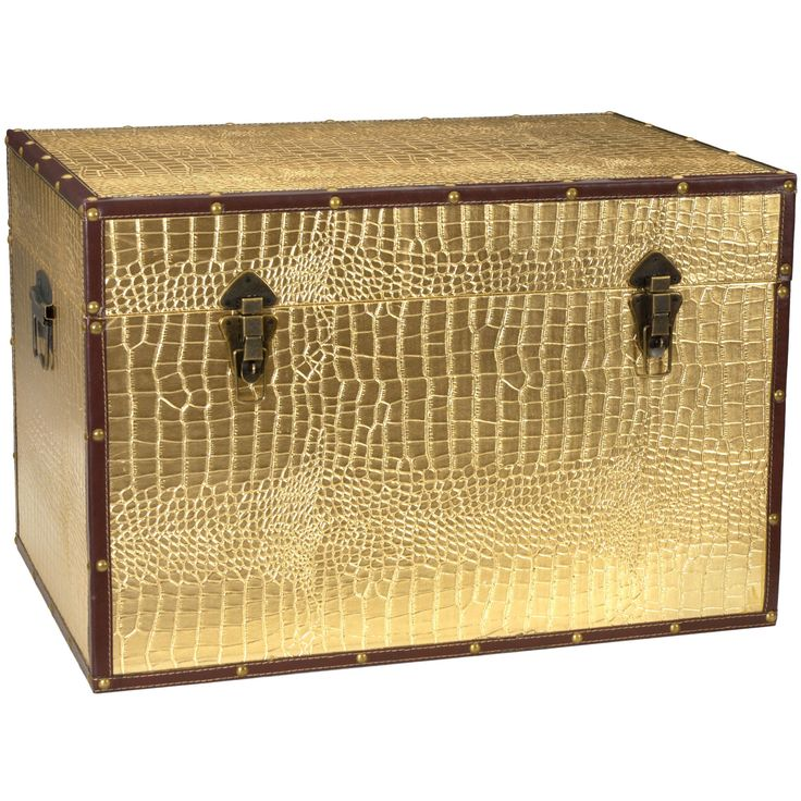 This fine trunk features a fun and fetching faux crocodile skin pattern in a metallic gold that practically glows. Printed on high-quality textured vinyl, this chest is sure to be a unique addition to your home decor.