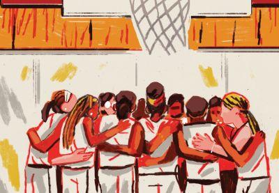 Illustration eines Mädchens & # 39; Die Basketballmannschaft drängt sich unter den Korb   – Designs