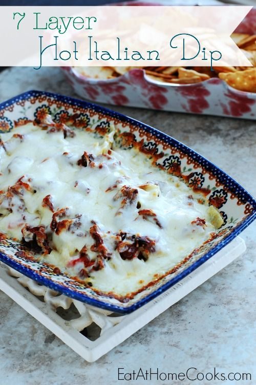Oh my gosh, you all! This dip is so easy and so amazing, you've got to try it! Seven layers of cheesy, Italian inspired flavors come together in a hot, bubbly dip. It's great for an appetizer a...