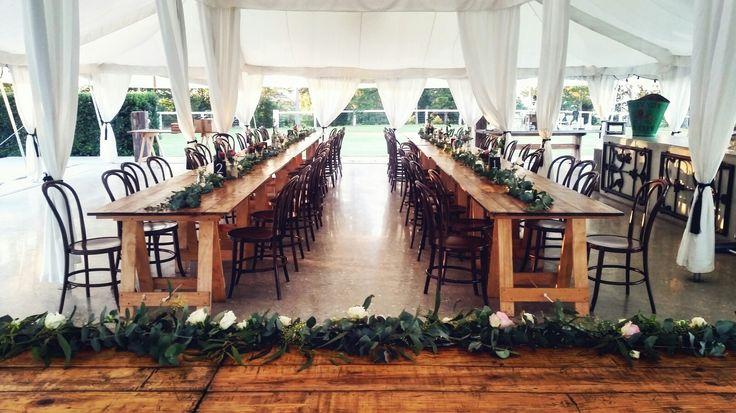 As Sweet As Jasmine @as_sweet_as_jasmine  Table garland reception set up at Wallalong House