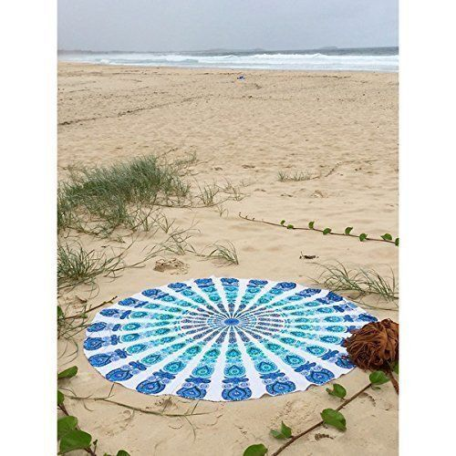 Bedspreads – Blue Peacock Mandala Roundie Table Cloth72x72inch – a unique product by IndianCraftPalace on DaWanda