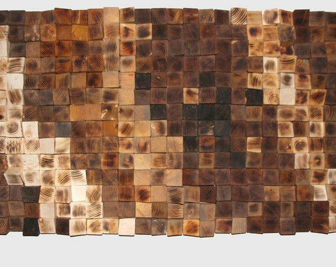 Arte geometrica, legno arte della parete, mosaico a legna legno recuperato, arte di legno della parete, muro di legno rustico Art, legno parete scultura astratta arte legno