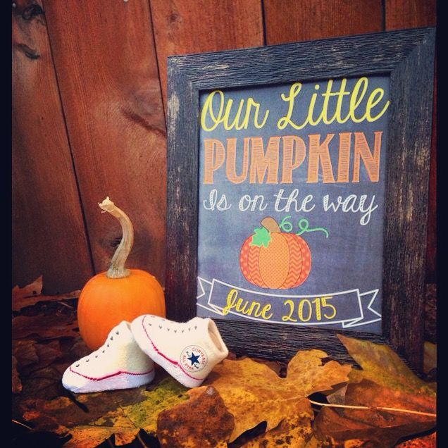 Fall Baby Announcement idea.   Sign found on Etsy: https://www.etsy.com/listing/205872479/our-little-pumpkin-is-on-the-way-fall?ref=shop_home_active_13  Printed that off and got a cheap frame from  Michael's. Super easy and I got a lot of compliments from my friends :)